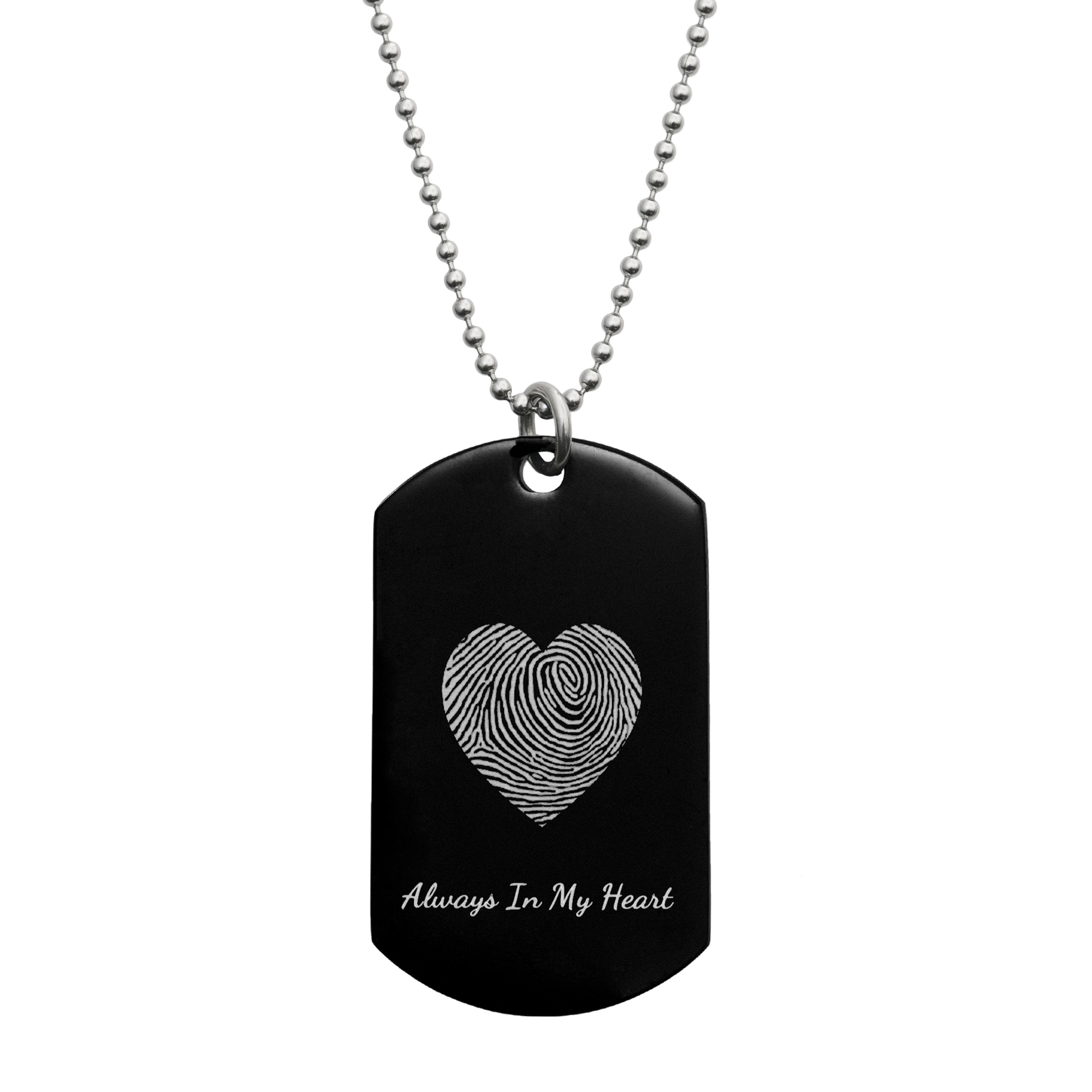 "Stainless Steel Personalized Fingerprint + Text Engraving Custom Dog Tag w/ Dot Ball Chain Necklace 24"" - Handmade"