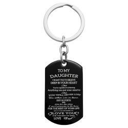 To My Daughter Want You to Believe Love Dad Personalized Photo Text Dog Tag Keychain