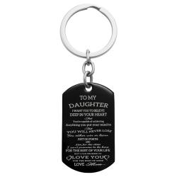 To My Daughter Want You to Believe Love Mom Personalized Photo Text Dog Tag Keychain