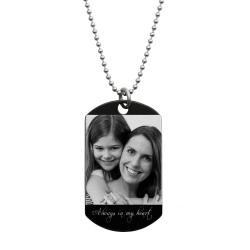 To My Daughter Fr Mom Love Note Personalized Photo Text Engraved Stainless Steel Dog Tag Military Pendant, 24'' Necklace