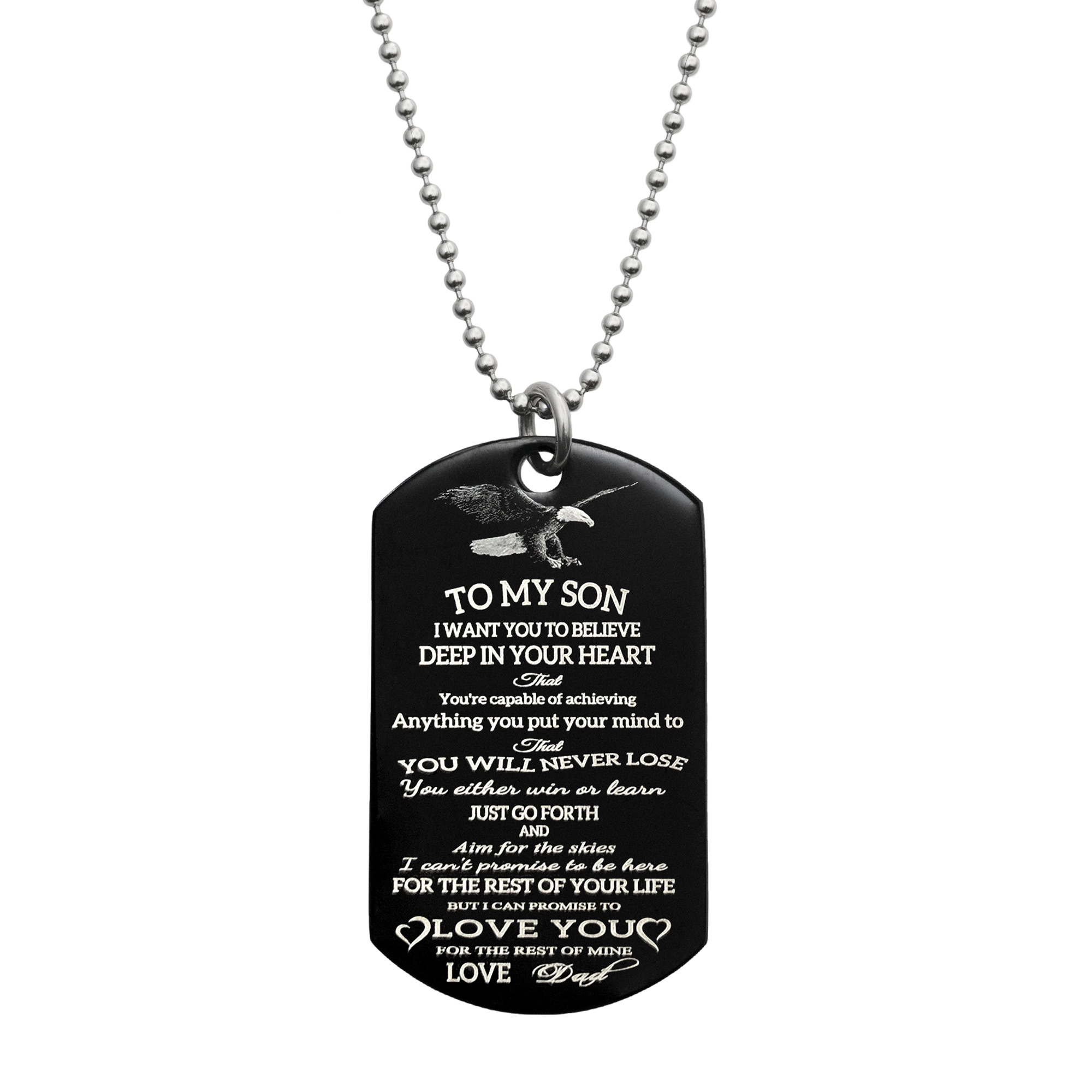 To My Son Fr Dad Love Note Personalized Text Engraved Stainless Steel Custom Dog Tag Military Pendant, 24\'\' Necklace