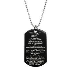 To My Son Fr Dad Love Note Personalized Text Engraved Stainless Steel Custom Dog Tag Military Pendant, 24'' Necklace