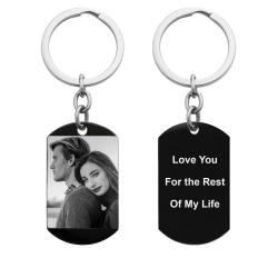 One Side Photo + One Side Text Personalized Engraved Stainless Steel Custom Dog Tag Key Chain - Handmade