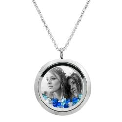Engraved Personalized Photo Floating Crystal Necklace Pendant