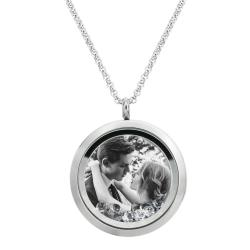 Engraved Personalized Photo + Message Engraving Floating Clear Crystals Necklace Pendant