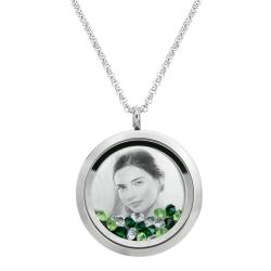 Stainless Steel Personalize Photo Engraved Round Floating Green Crystal Locket Necklace Pendant, 30mm
