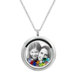 Engraved Personalized Photo and Message Floating Rainbow Color Crystals Necklace Pendant