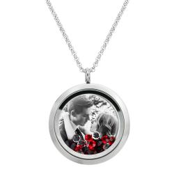 Engraved Personalized Photo + Message Engraving Floating Red Crystals Necklace Pendant