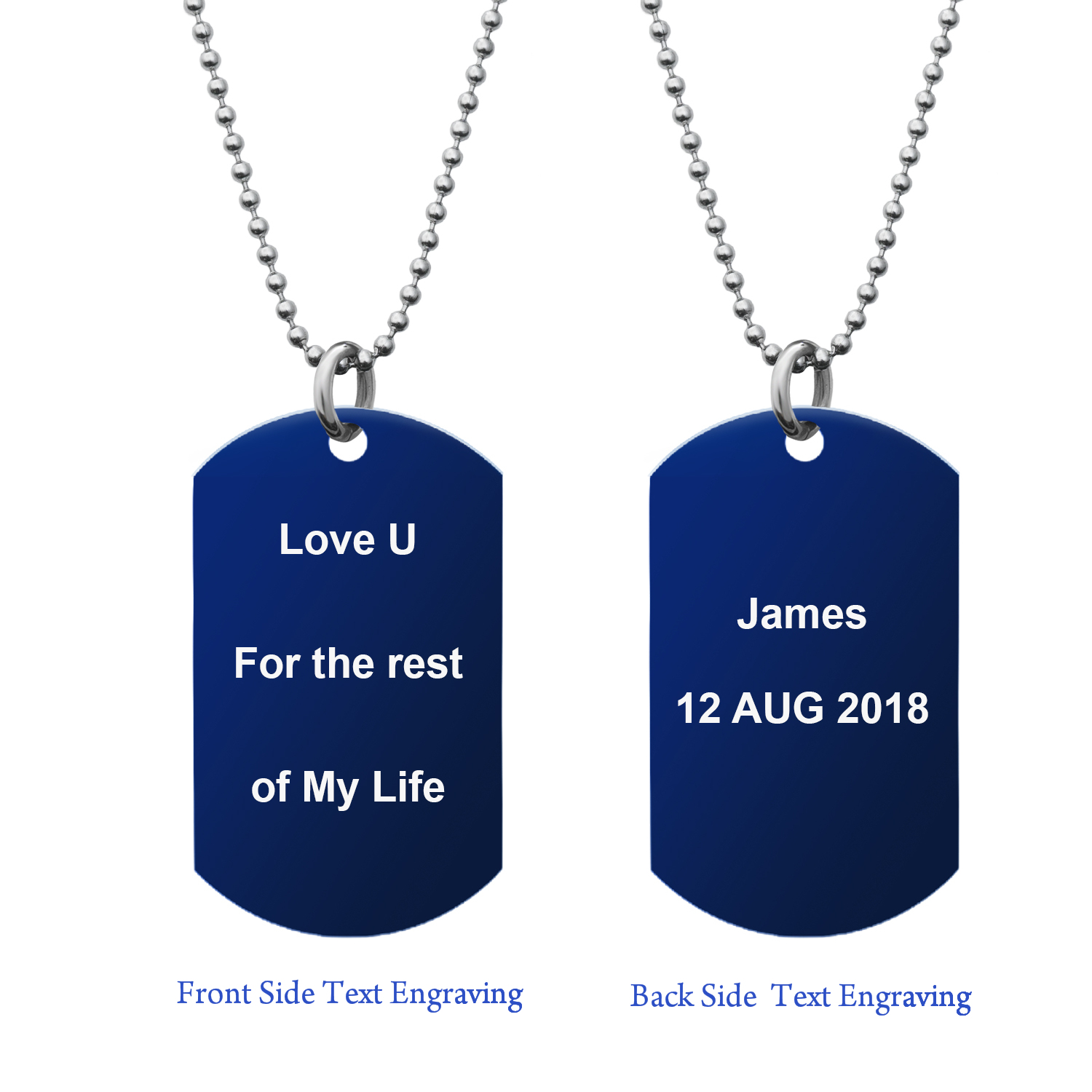 "Blue - Personalized Message Two Sides Text Engraved Stainless Steel Custom Dog Tag w/ Dot Ball Chain Necklace 24"" - Handmade"