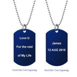 Blue - Personalized Message Two Sides Text Engraved Stainless Steel Custom Dog Tag w/ Dot Ball Chain...