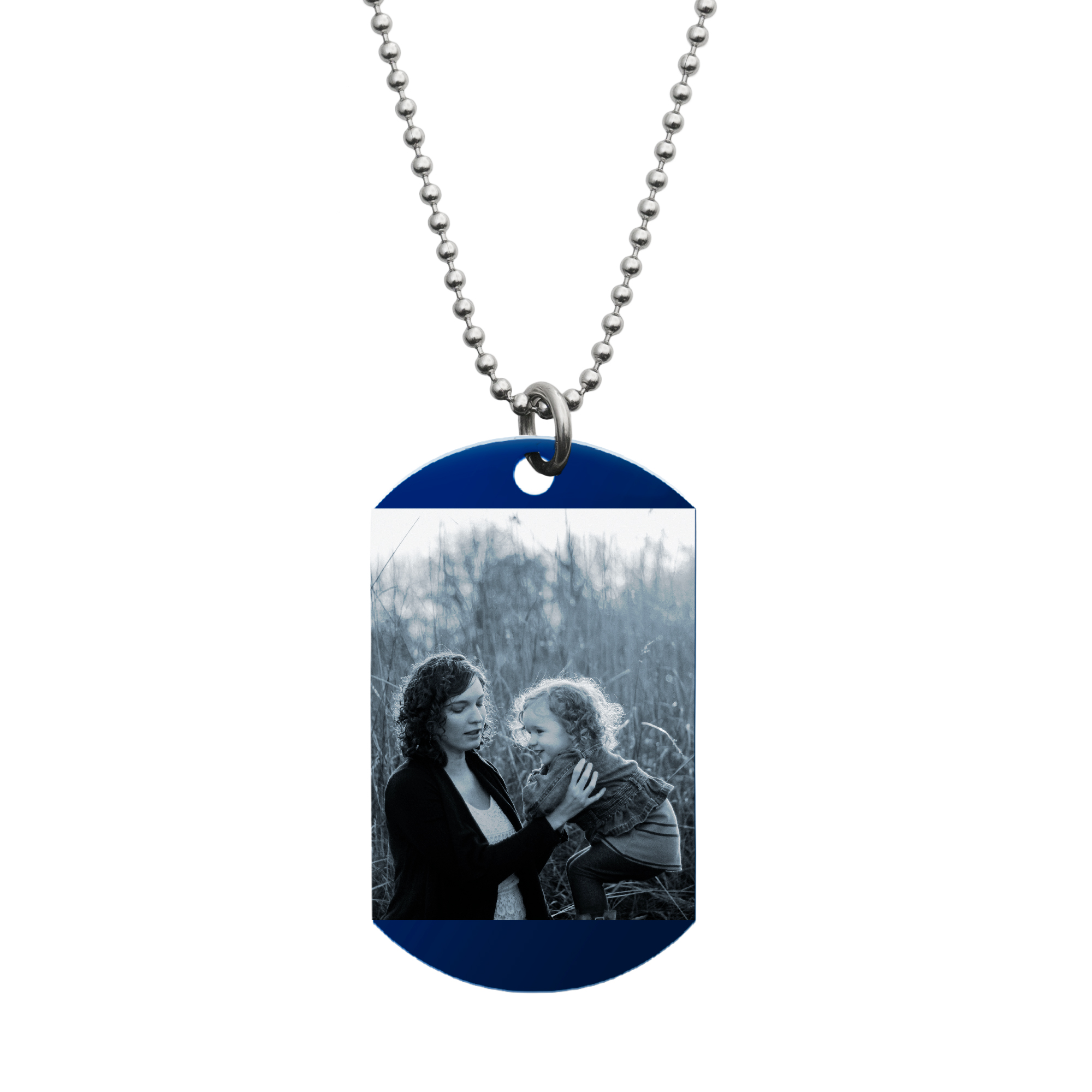 "Stainless Steel One Side Personalized Photo Engraving Custom Blue Dog Tag w/ Dot Ball Chain Necklace 24"" - Handmade"