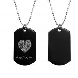 "Stainless Steel Personalized Fingerprint + Text Engraving Heart Custom Dog Tag w/ Dot Ball Chain Necklace 24"" - Handmade"