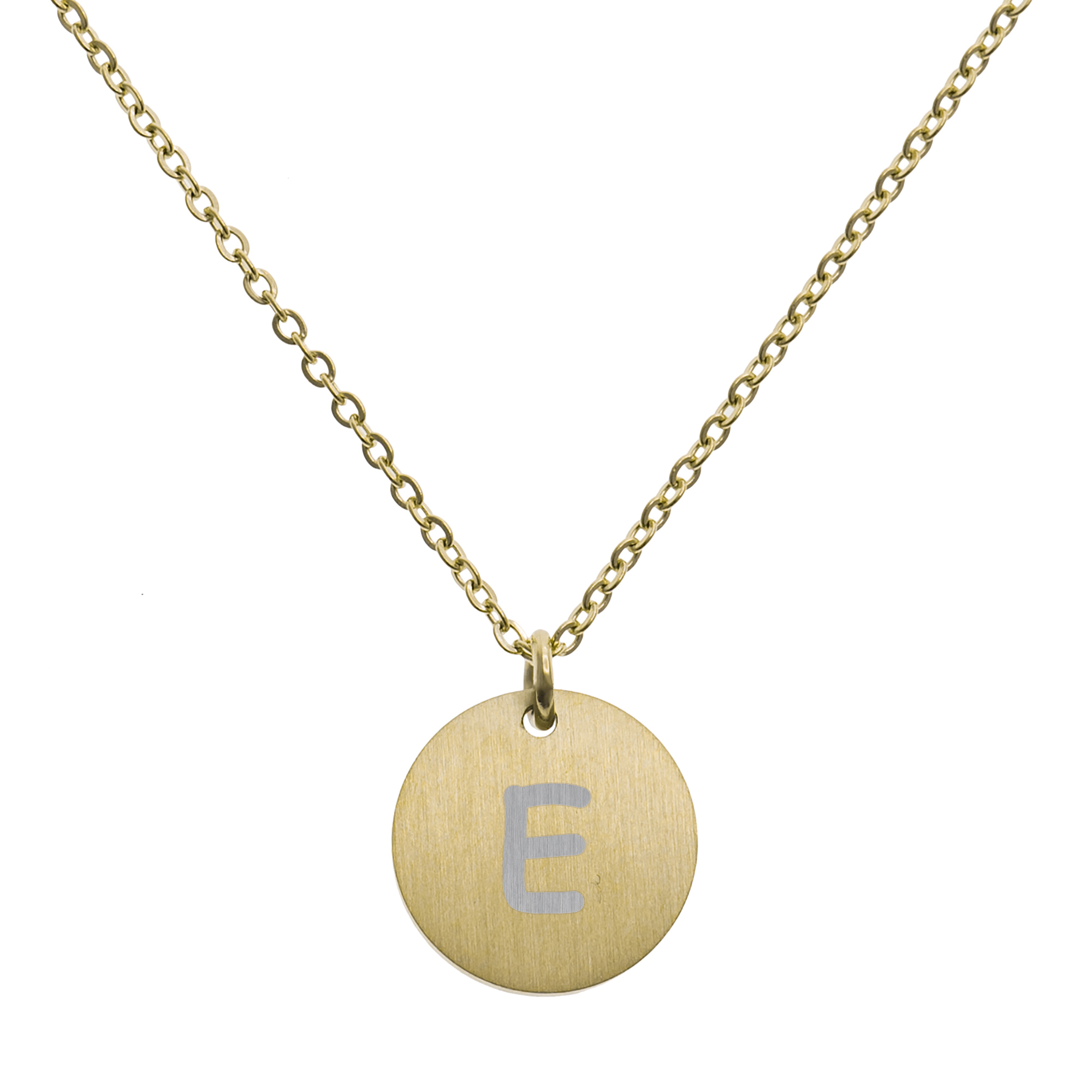 Engraved Metal Initial Letter Disc Pendant Chain Necklace 18.5 in + 2.5 in - E - Gold Tone