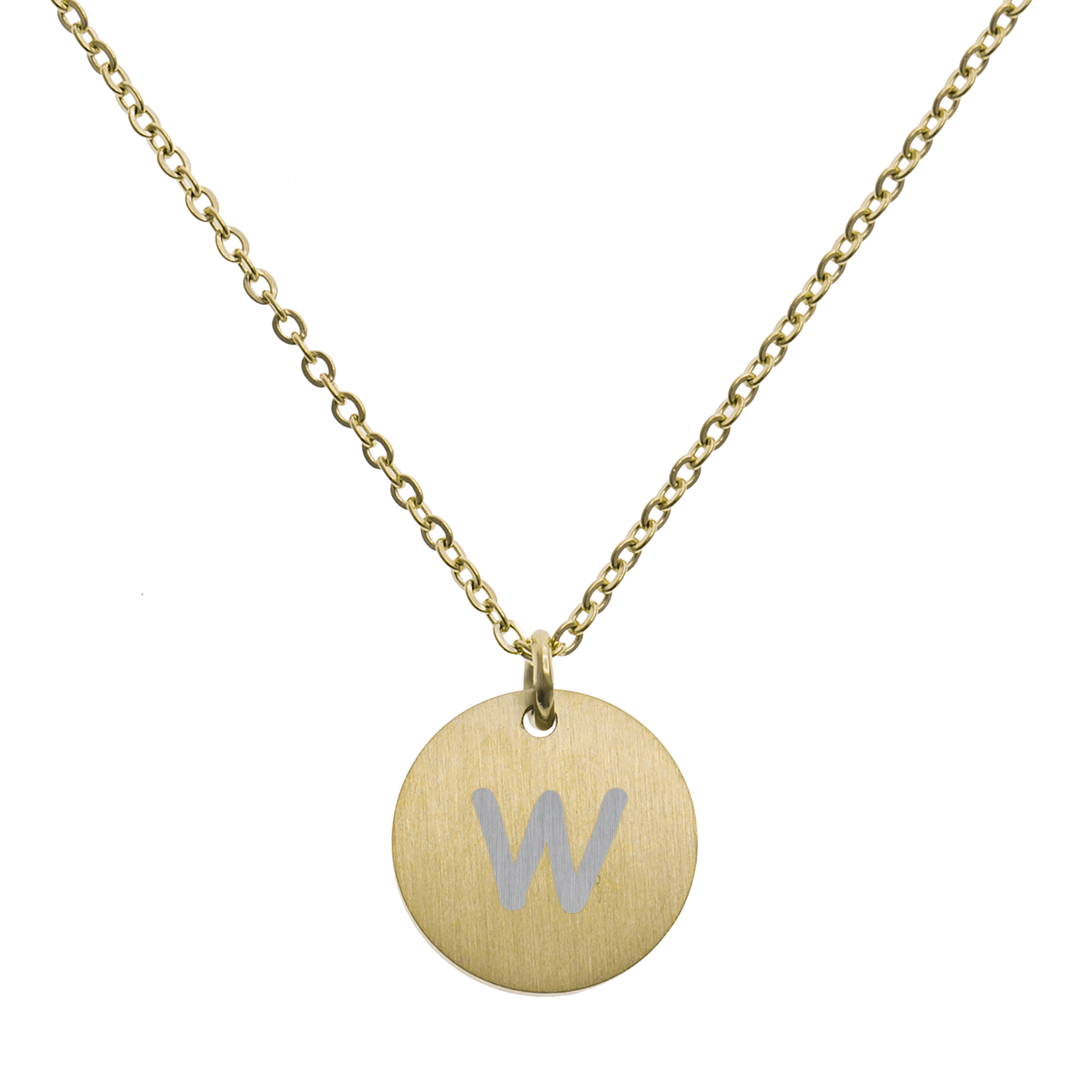 Engraved Metal Initial Letter Disc Pendant Chain Necklace 18.5 in + 2.5 in - W - Gold Tone