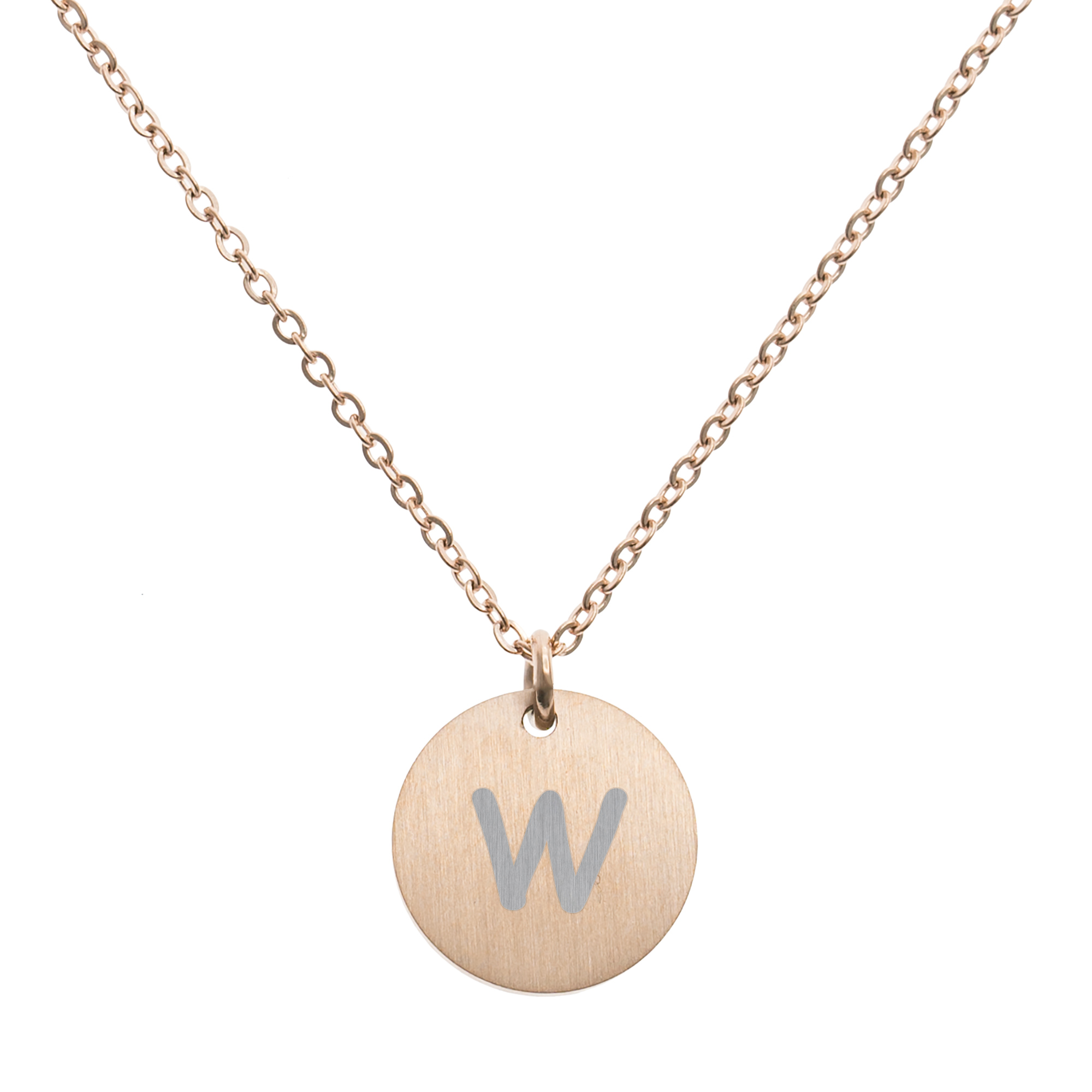 Engraved Metal Initial Letter Disc Pendant Chain Necklace 18.5 in + 2.5 in - W - Rose Gold Tone