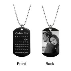 Custom Engraved Personalized Calendar Date & Photo Stainless Steel Dog Tag Pendant with Ball Chain...