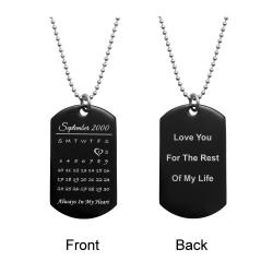 Custom Engraved Personalized Calendar Date & Text Stainless Steel Dog Tag Pendant with Ball Chain...