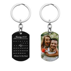 Full Color Uv Coated Photo Printing + Laser Engraved Personalized Custom Calendar Date Memorial Stainless Steel Dog Tag Keychain
