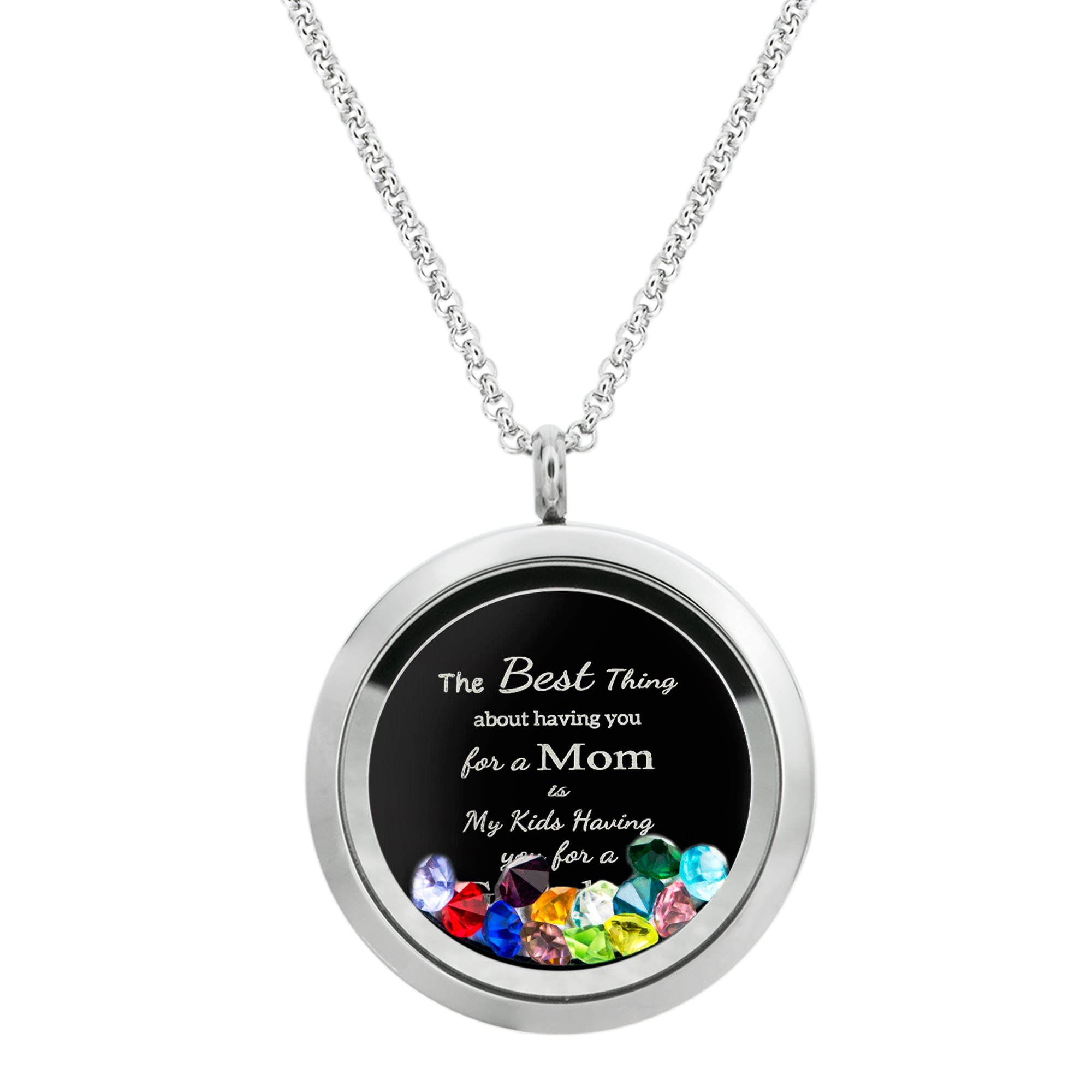 Best Mom Mother Stainless Steel Laser Engraved Text Message Floating Locket Crystals Necklace Pendant Mix Colors