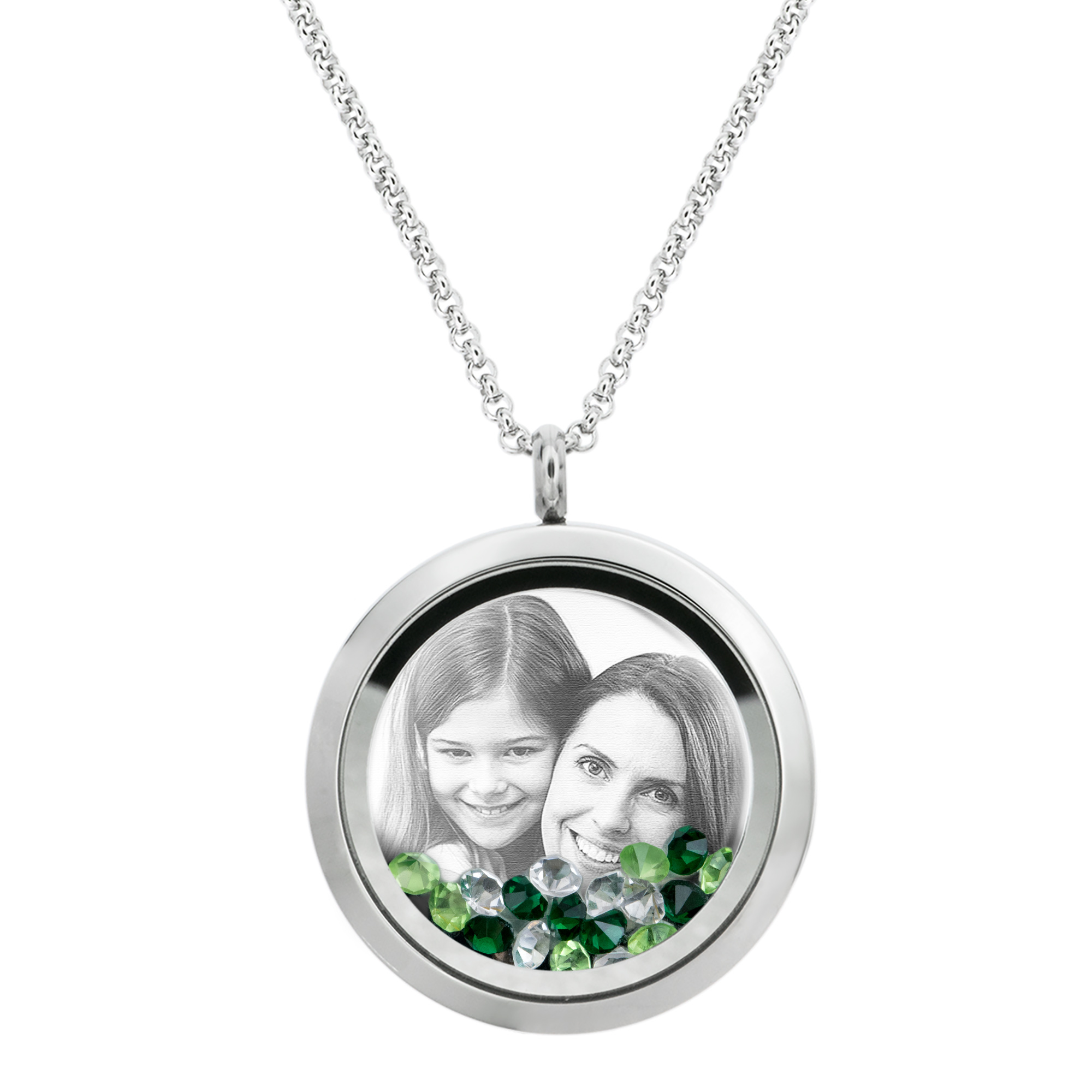 Best Mom Mother Stainless Steel Laser Engraved Personalized Photo & Text Message Floating Locket Crystals Necklace Pendant Green