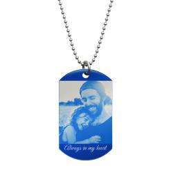 Best Dad Stainless Steel Engraved Text Personalzied Photo Dog Tag Pendant Necklace, 24 in Blue
