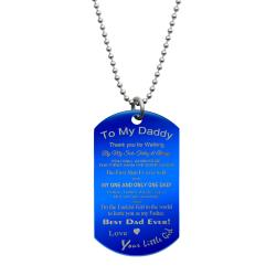Best Dad Stainless Steel Engraved Memorial Text Dog Tag Pendant Necklace, 24 in Blue