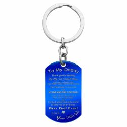Best Dad Little Girl Stainless Steel Engraved Memorial Text Dog Tag Keychain Blue