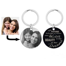 Stainless Steel Personalized Photo Text Round Dog Tag Keychain Believe in the Beauty of the Dreams