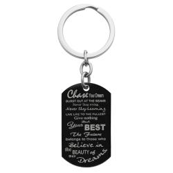 Chase Your Best Dream Engraved Text Dog Tag Pendant Keychain Keepsafe Gift