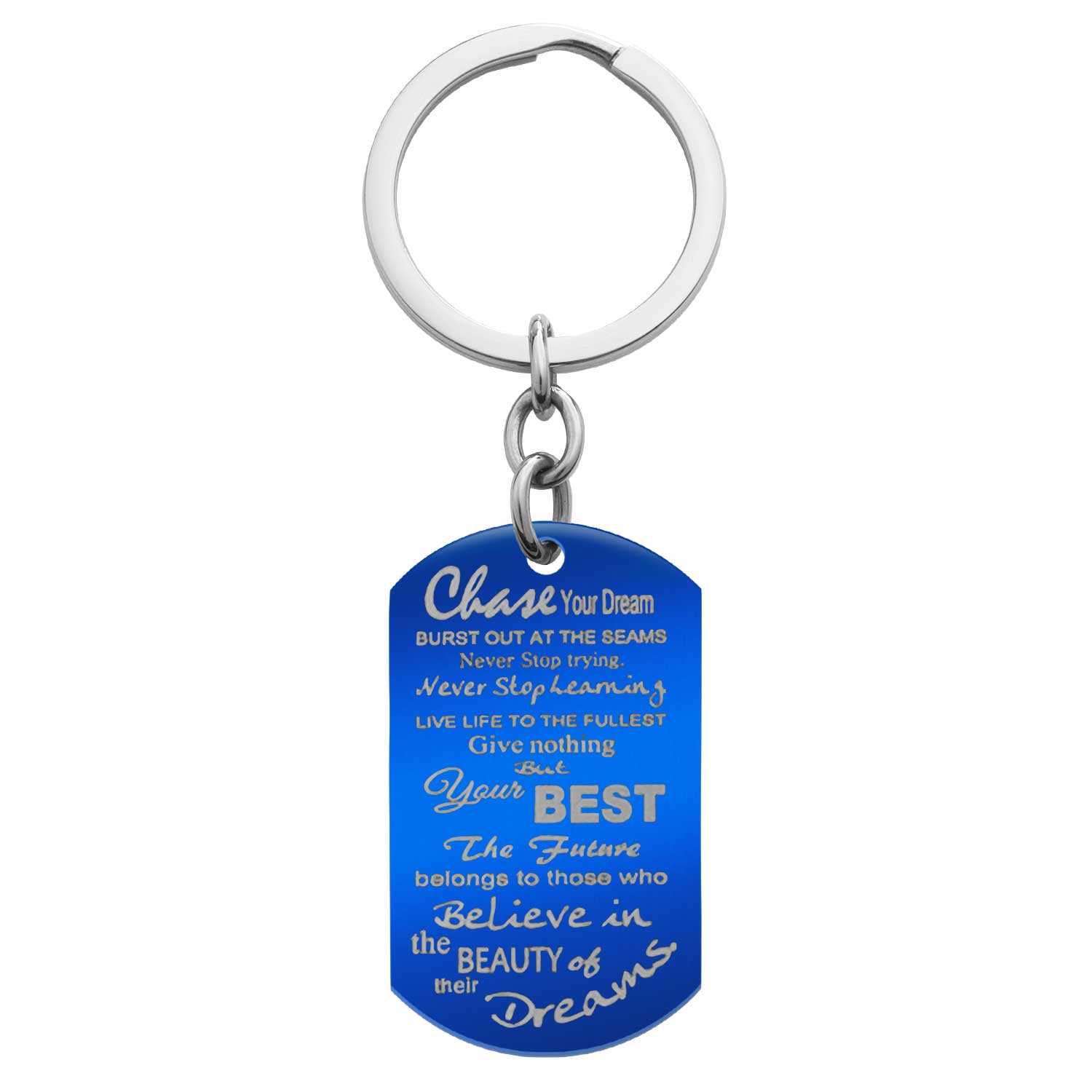 Blue Chase Your Best Dream Engraved Text Dog Tag Pendant Keychain Keepsafe Gift