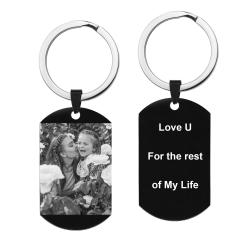 Personalized Engraved Custom Photo Text Dog Tag Pendant Keychain
