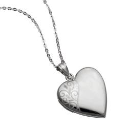 Qina C Sterling Silver Diamond 24mm Swirl Flower Love Heart Photo Locket Holds Picture Pendant...