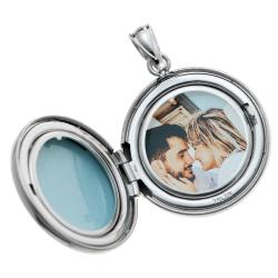 Qina C Sterling Silver 20mm Diamond Round Photo Locket Holds Picture Pendant Necklace, Custom Photo...