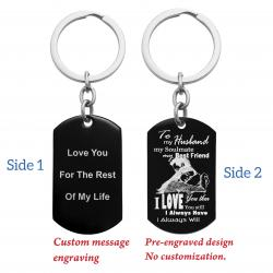To My Husband Soulmate Best Friend Custom Text Engraving Dog Tag Key Chain - Handmade