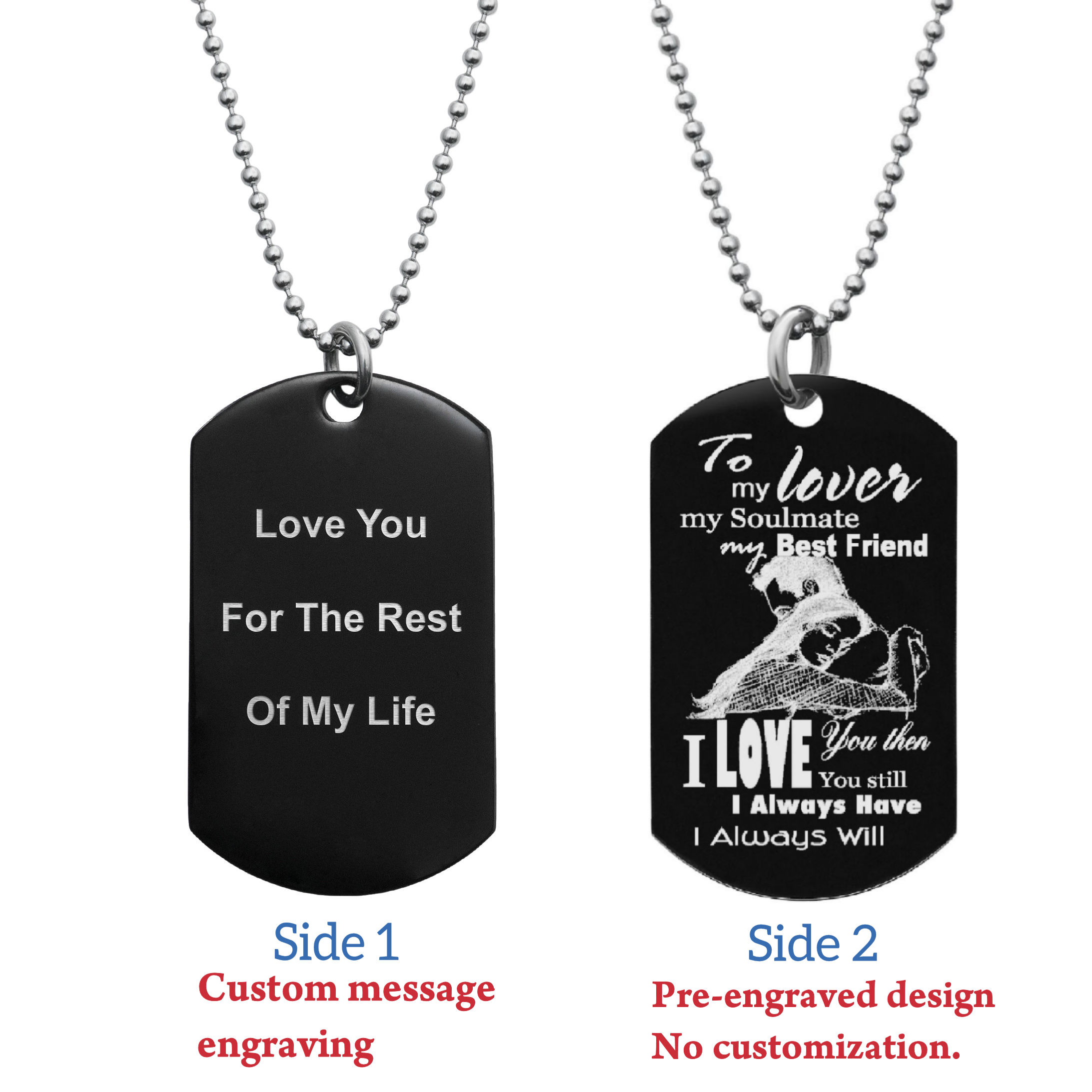 "To My Lover My Soulmate Soulmate Best Friend Back Side Text Engraving Custom Dog Tag w/ Dot Ball Chain Necklace 24"" - Handmade"