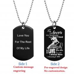 To My Lover My Soulmate Soulmate Best Friend Back Side Text Engraving Custom Dog Tag w/ Dot Ball...