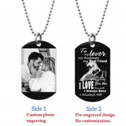 "To My Lover My Soulmate Soulmate Best Friend Photo Engraving Custom Dog Tag w/ Dot Ball Chain Necklace 24"" - Handmade"