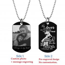 "To My Lover Soulmate Best Friend Photo Engraving Custom Dog Tag w/ Dot Ball Chain Necklace 24"" - Handmade"