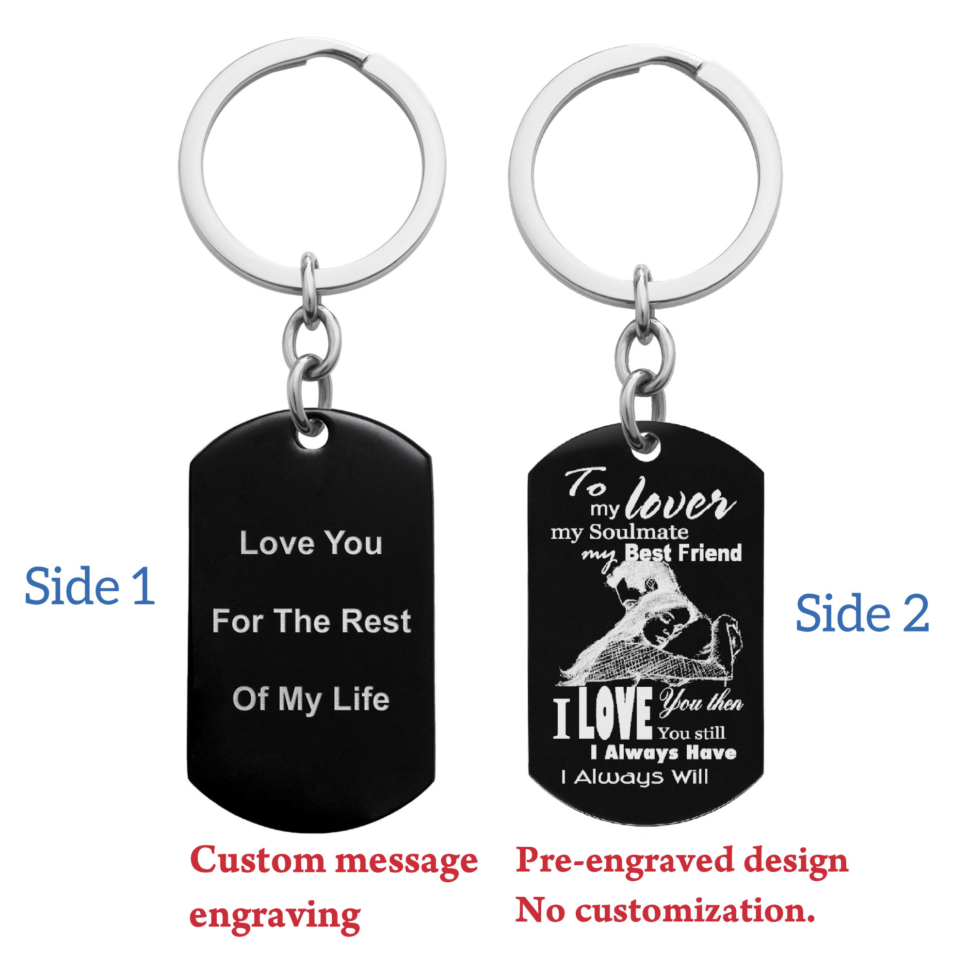 To My Lover My Soulmate My Best Friend Custom Text Engraving Dog Tag Key Chain - Handmade