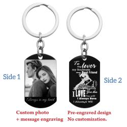 To My Lover Soulmate Best Friend Photo Engraving Custom Dog Tag Key Chain - Handmade