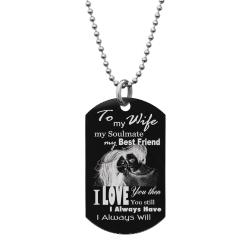 "To My Wife My Soulmate My Best Friend Custom Dog Tag w/ Dot Ball Chain Necklace 24"" - Handmade"