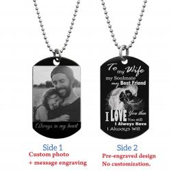 "To My Wife Soulmate Best Friend Photo Engraving Custom Dog Tag w/ Dot Ball Chain Necklace 24"" - Handmade"