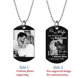 "To My Wife My Soulmate Soulmate Best Friend Photo Engraving Custom Dog Tag w/ Dot Ball Chain Necklace 24"" - Handmade"