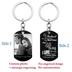 To My King My Husband Photo & Text Engraving Custom Dog Tag Key Chain - Handmade