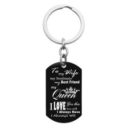 To My Queen My Wife Custom Dog Tag Key Chain - Handmade