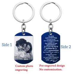 Blue - To Our Daughter From Mom and Dad Photo Engraving Custom Dog Tag Key Chain - Handmade