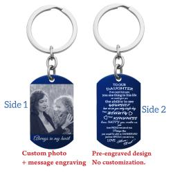 Blue - To Our Daughter From Mom and Dad Photo/text Engraving Custom Dog Tag Key Chain - Handmade
