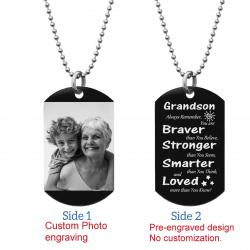 "Grandson Braver Stronger Smarter Love Personalized Photo Engraving Custom Dog Tag w/ Dot Ball Chain Necklace 24"" - Handmade"
