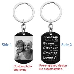 Grandson Braver Stronger Smarter Love Personalized Photo/text Engraving Custom Dog Tag Key Chain - Handmade