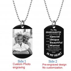 "Granddaughter Braver Stronger Smarter Love Personalized Photo Engraving Custom Dog Tag w/ Dot Ball Chain Necklace 24"" - Handmade"